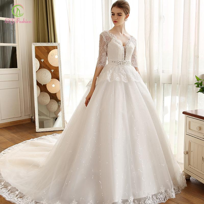 Discount 2017 Bling Vintage Lace Wedding Dresses V Neck With Half Sleeves Beaded Sashes Pregnant Bridal Ball Gowns Vestido De Novia Latest