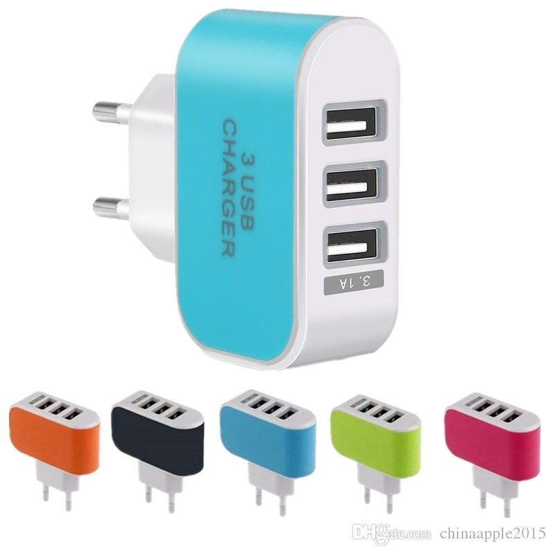 Eu Us wall charger 5V 3.1A 3 Ports Multiple LED Wall USB Smart Charger Adapter adaptor for iphone 5 6 7 for samsung galaxy s6 s7 edge mp3