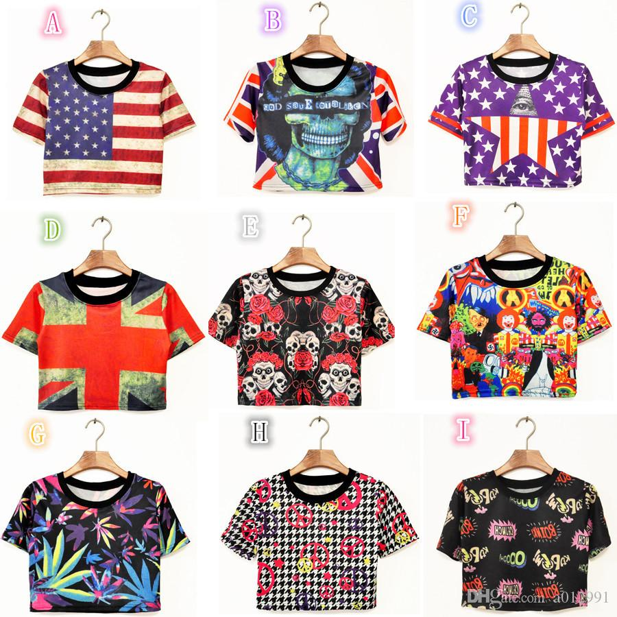 DHL 2017 Harajuku Geek Women Tank Top Singlet Vest T Shirts Sexy Crop top t-shirt for girls with skull rose flag printed.