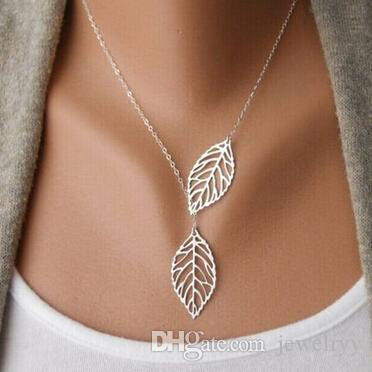 Collana donna vintage in argento con charms in argento Collana a foglie cave in clavicola vintage con due foglie Collana con pendente