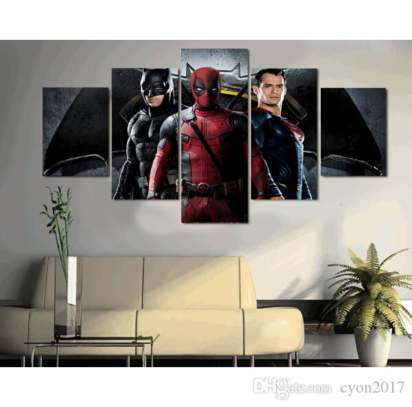 2017 Promotion Fallout Wall Art 5 Pcs No Framed Batman Superman Deadpool Painting On Canvas Room Decor Print Picture Paintings