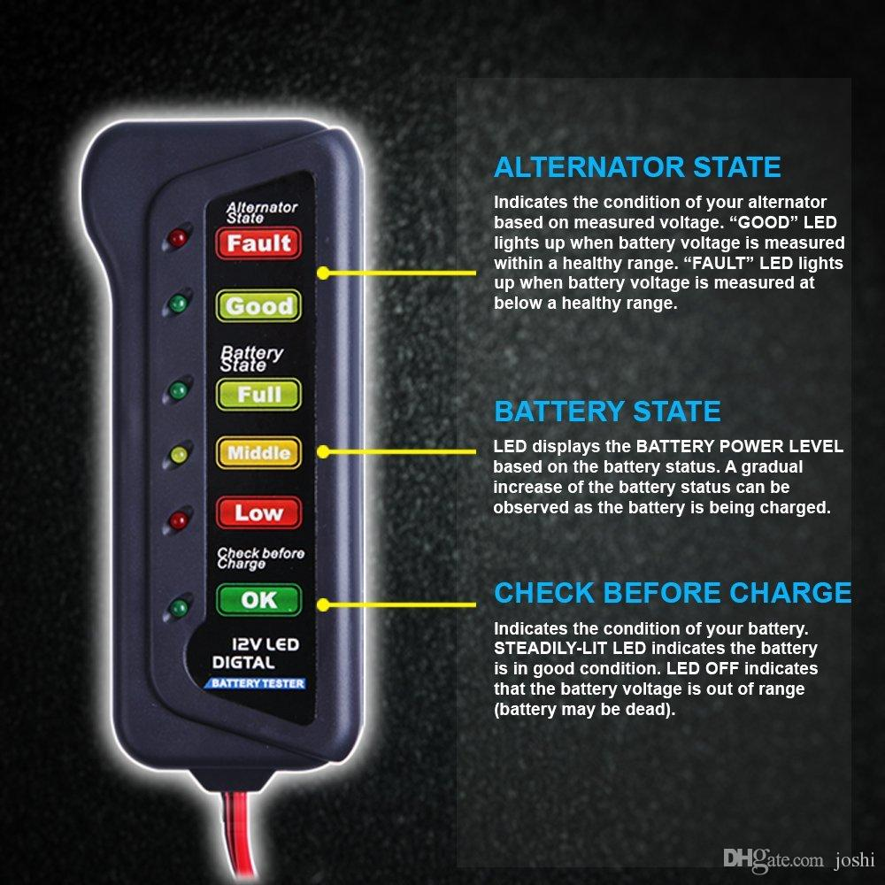 12V Digital Car Battery Tester Alternator Tester with LED Indication Test Battery Condition & Alternator Charging for Cars