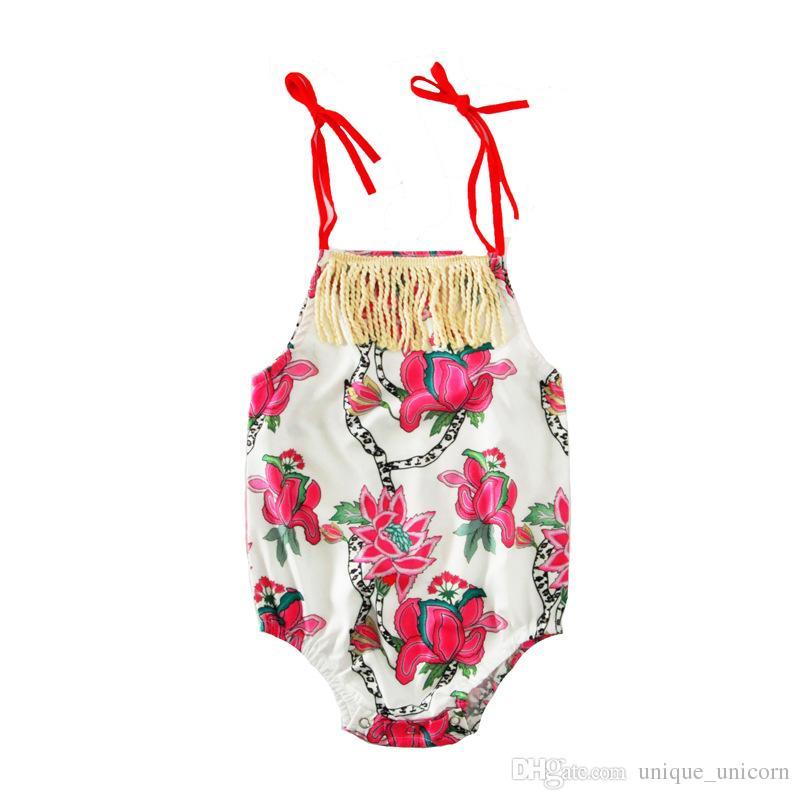 kids clothing floral bodysuit rompers 2017 New Summer Printed Tassel summer baby onesie Cute Slip Jumpsuit