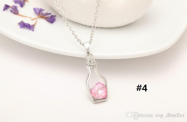 New Bottles And Love Crystal Pendant Necklace Cheap Diamond Alloy Necklace Sweater Necklace Locket Jewelry S143