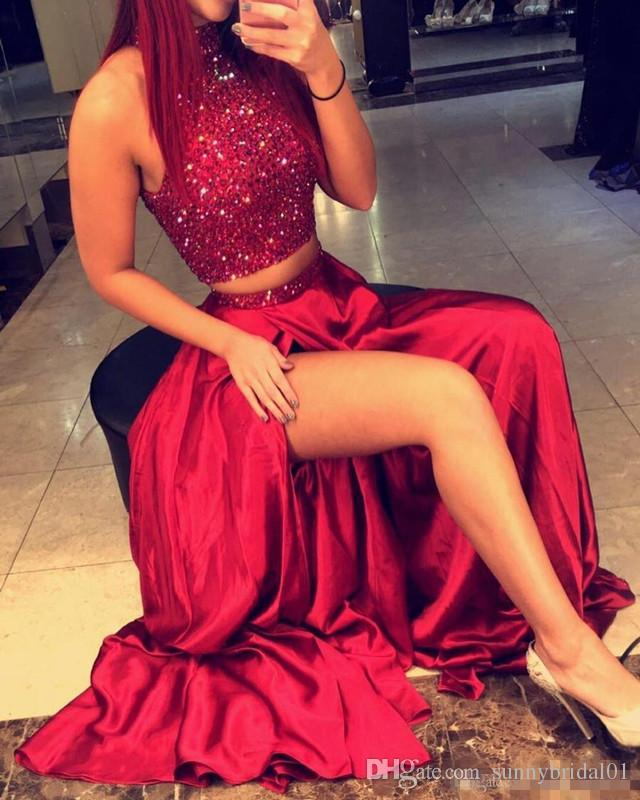 2017 New Two Pieces Prom Dresses High Neck Crystal Beading Satin Burgundy Side Split Hollow Back Long Formal Party Dress Evening Gowns