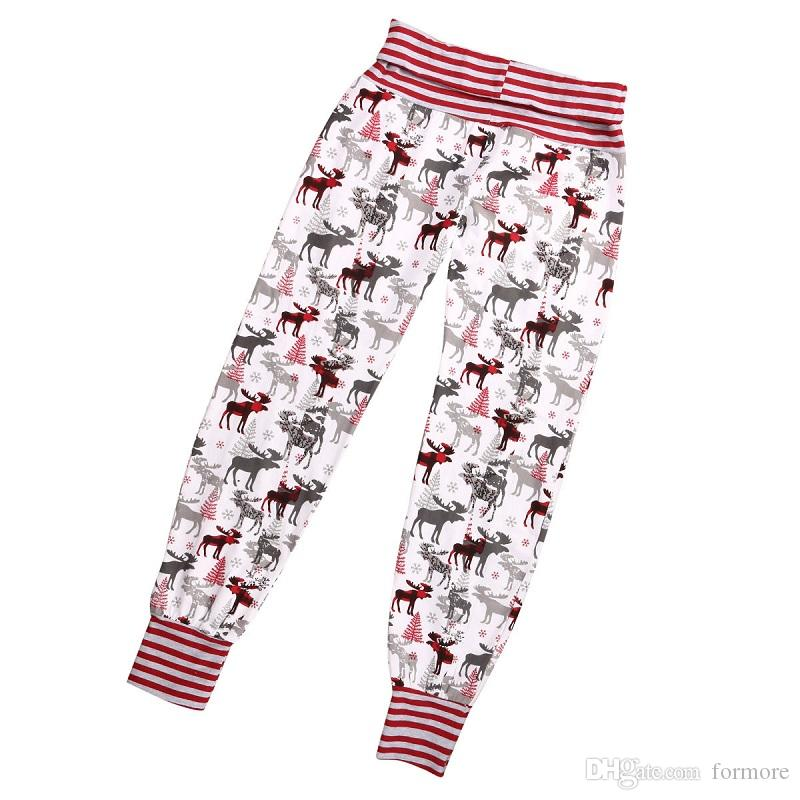 Newborn baby little girls Boys autumn pants Mother Daughter Xmas Red Reindeer Leggings Slim Trousers infant kidswear clothes
