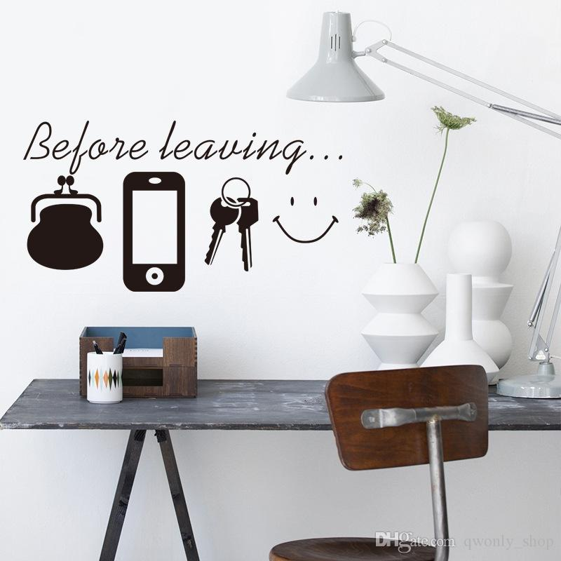 Before leaving Reminder vinyl quotes don't forget door wall art sticker decal kitchen lounge home decor Daily poster Mural