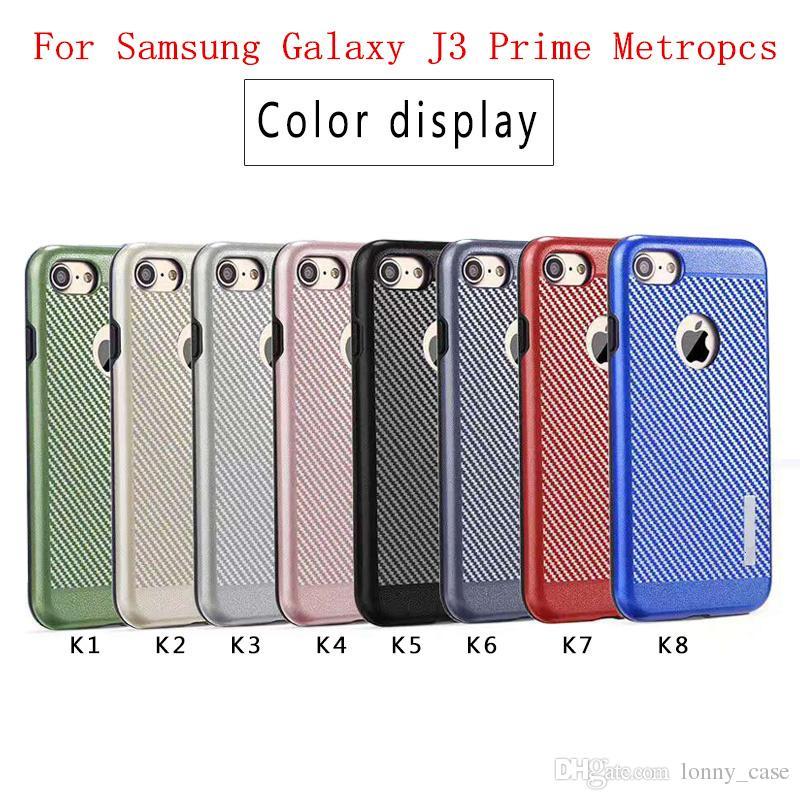 1f3c9e6a2e5 Fundas De Movil Para Samsung Galaxy J3 Prime J3 Emerge J3 2017 J327P  Metropcs J5 J7 Hybrid 2en1 Armor Case Funda De Fibra De Carbono TPU PC  Fundas ...