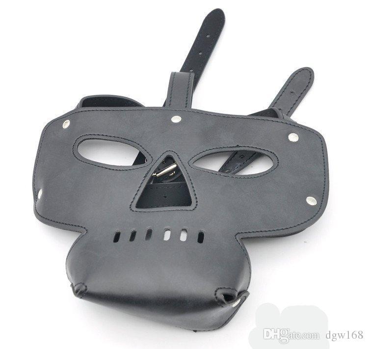 Slave Hood Mask Black Bright Leather Face Masks Sex Product for Adult Sex Games Sex Toys