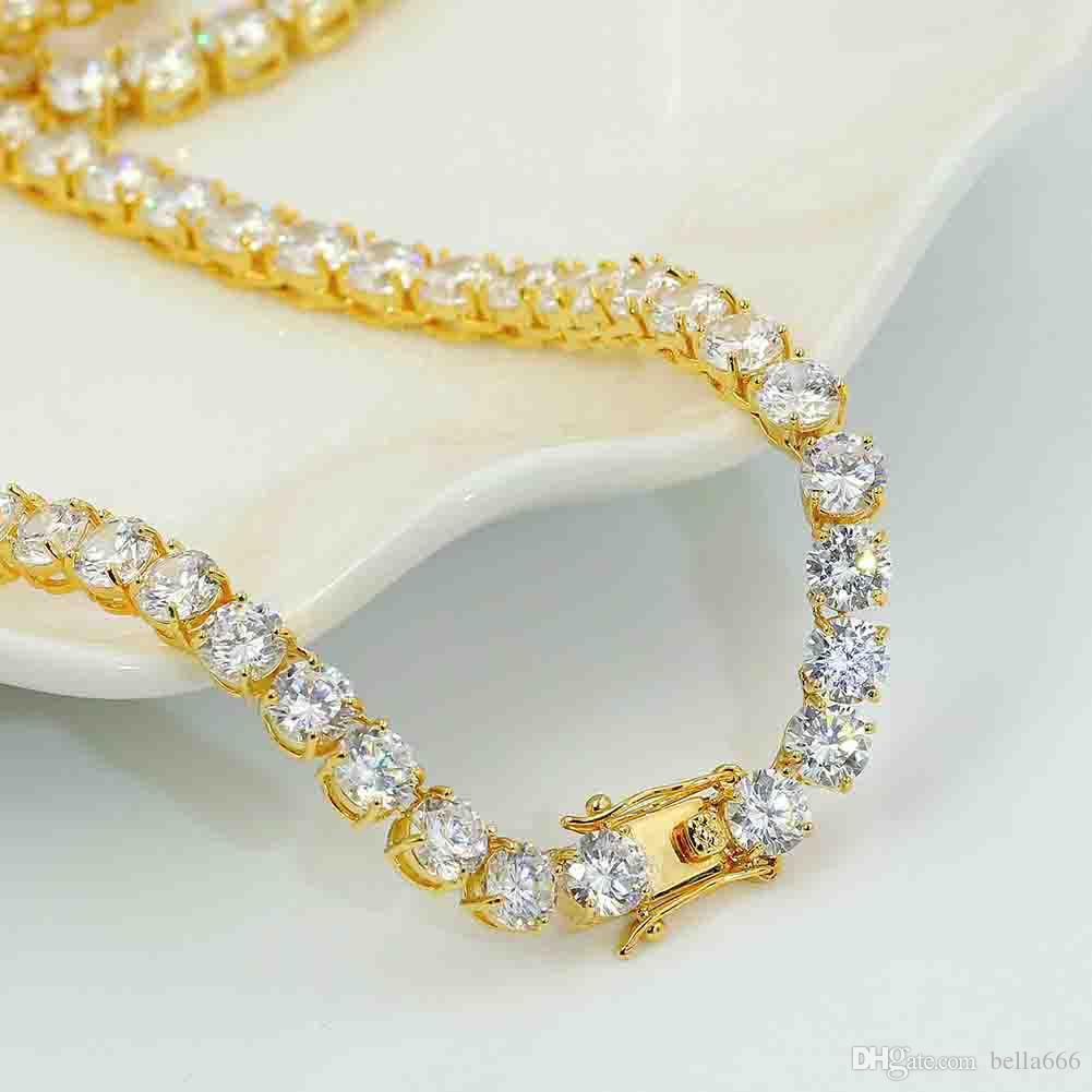 6MM Gold silver Color Hip Hop Cubic Zirconia Necklace Paved Tennis Blingbling CZ Stones Long Chain Men Women Jewelry Gift 20''24''30inch