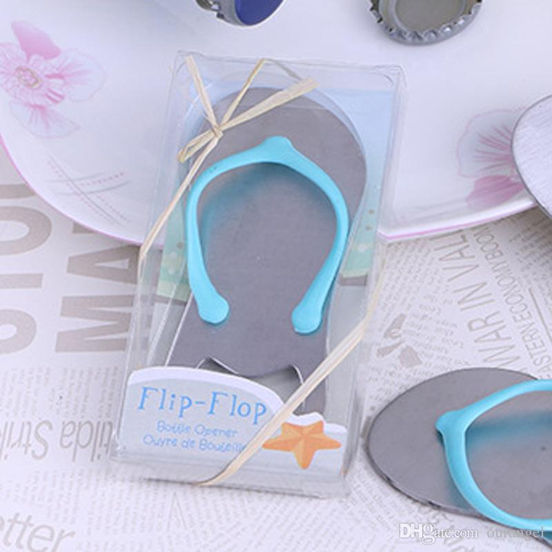 76be7c1345646 Alloy Beach Slippers Beer Bottle Openers Creative Novelty Flip Flops Bottle  Opener Wedding Favors Gift With Retail Box UK 2019 From Ourangel