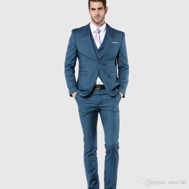 Mavi erkekler smokin suit yeni stil damat düğün takımları smokin terzi yapılan sağdıç erkekler için balo takımları ceket + yelek + pantolon