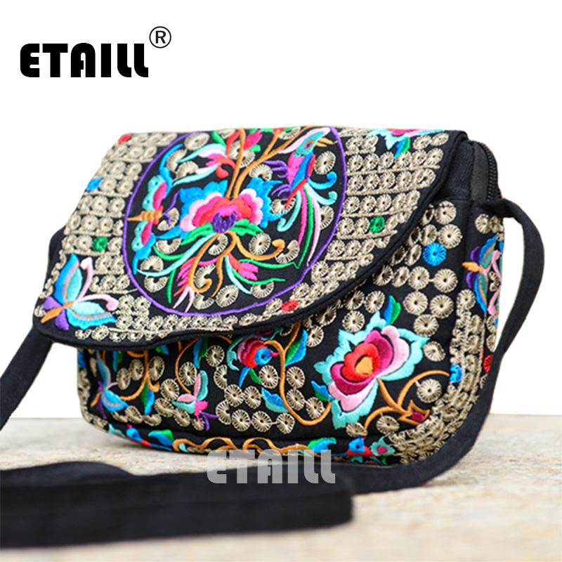 ce7ce03df4 Wholesale Hot Ethnic Hmong Boho Indian Embroidered Small Shoulder Bag  Handmade Fabric Embroidery Crossbody Bags Luxury Brand Messenger Bag  Leather Satchel ...