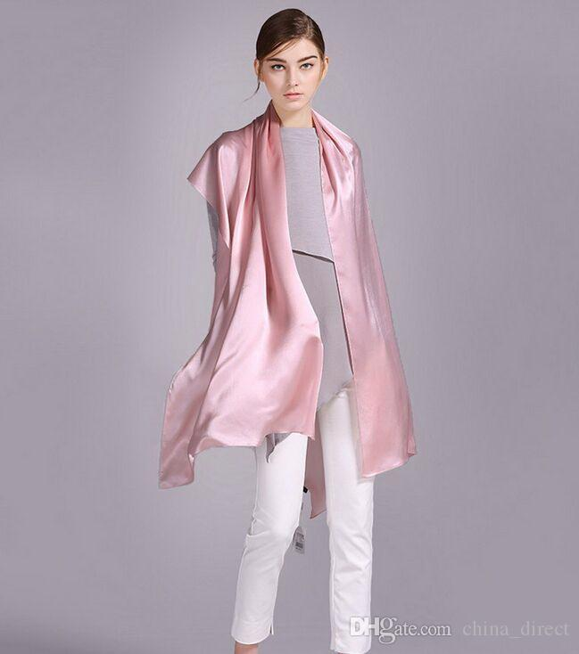 gorgeous 100% Silk Satin-langer Schal-reine Maulbeerseide-feste Normallack-Silk Schal 25 Farben mischten / # 4018