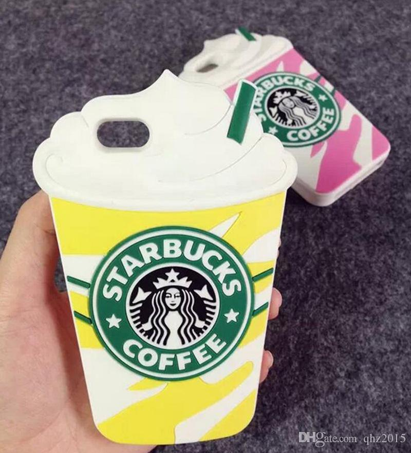 Hot 3D Cartoon Silicon Starbuck Coffee Cup Case Cover for Apple iPhone 7 6 6S Plus 5s SE 4S Samsung Galaxy S7 EDG