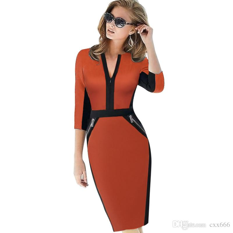 2017 Plus Size Front Zipper Women Work Wear Elegant Stretch Dress Charming  Bodycon Pencil Midi Spring Business Casual Dresses Long Dresses For Summer  Maxi ... 9f64a8368e8a