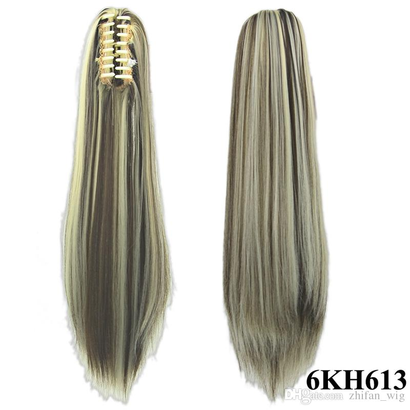 Z&F Top Quality Claw Clip Ponytails 55 CM 130g Hair Piece Synthetic Long Straight Hair Extensions Women Fashion