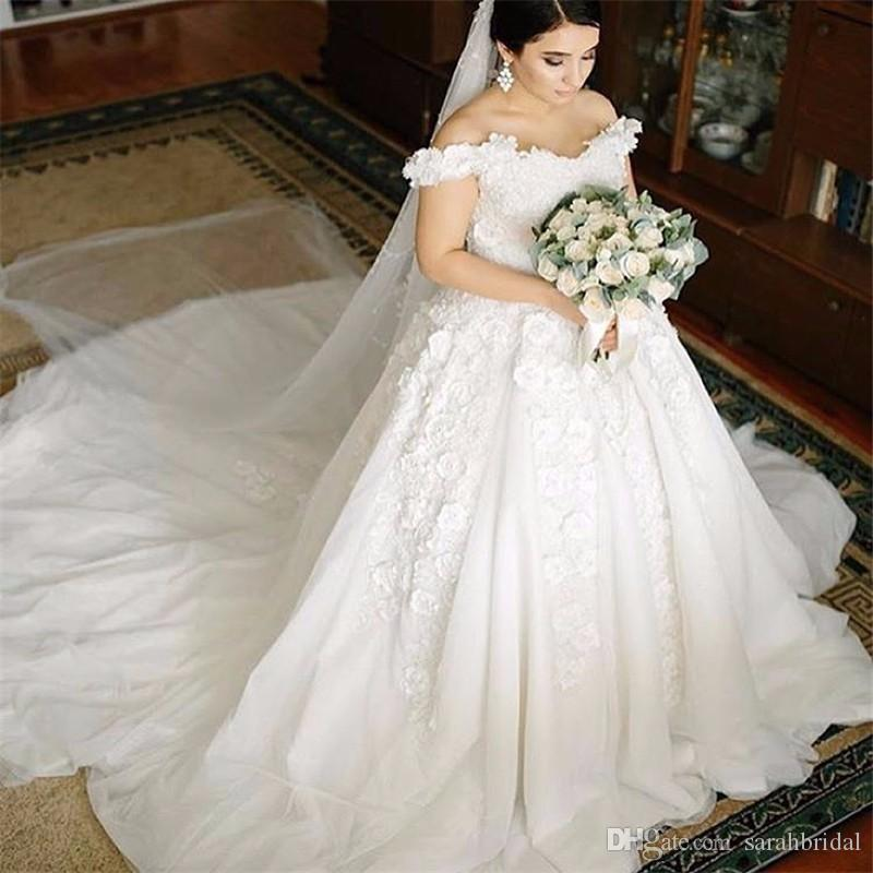 off-shoulder A-line 2019 short sleeves modest Tiered Skirts 3D-Floral Appliques cathedral train wedding dresses from china 12y bridal gowns