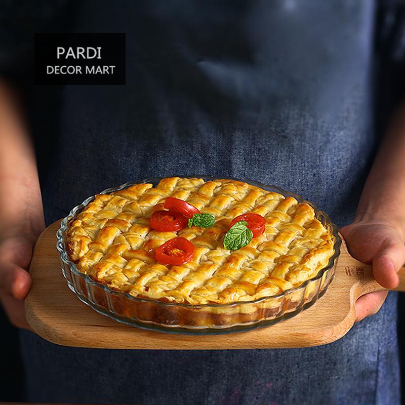 2019 Wholesale 21cm Round Shape Glass Pie Dishes Fruit Pie