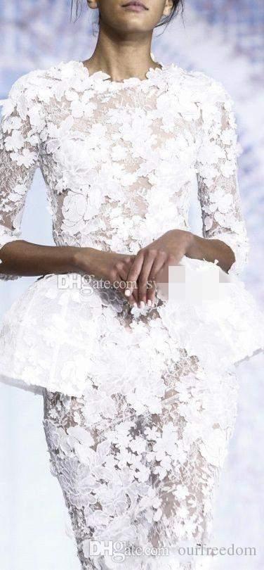 Piccoli abiti da sera bianchi 2019 a maniche lunghe al ginocchio a maniche corte in pizzo floreale Haute Couture Ralph Russo guaina abiti formali