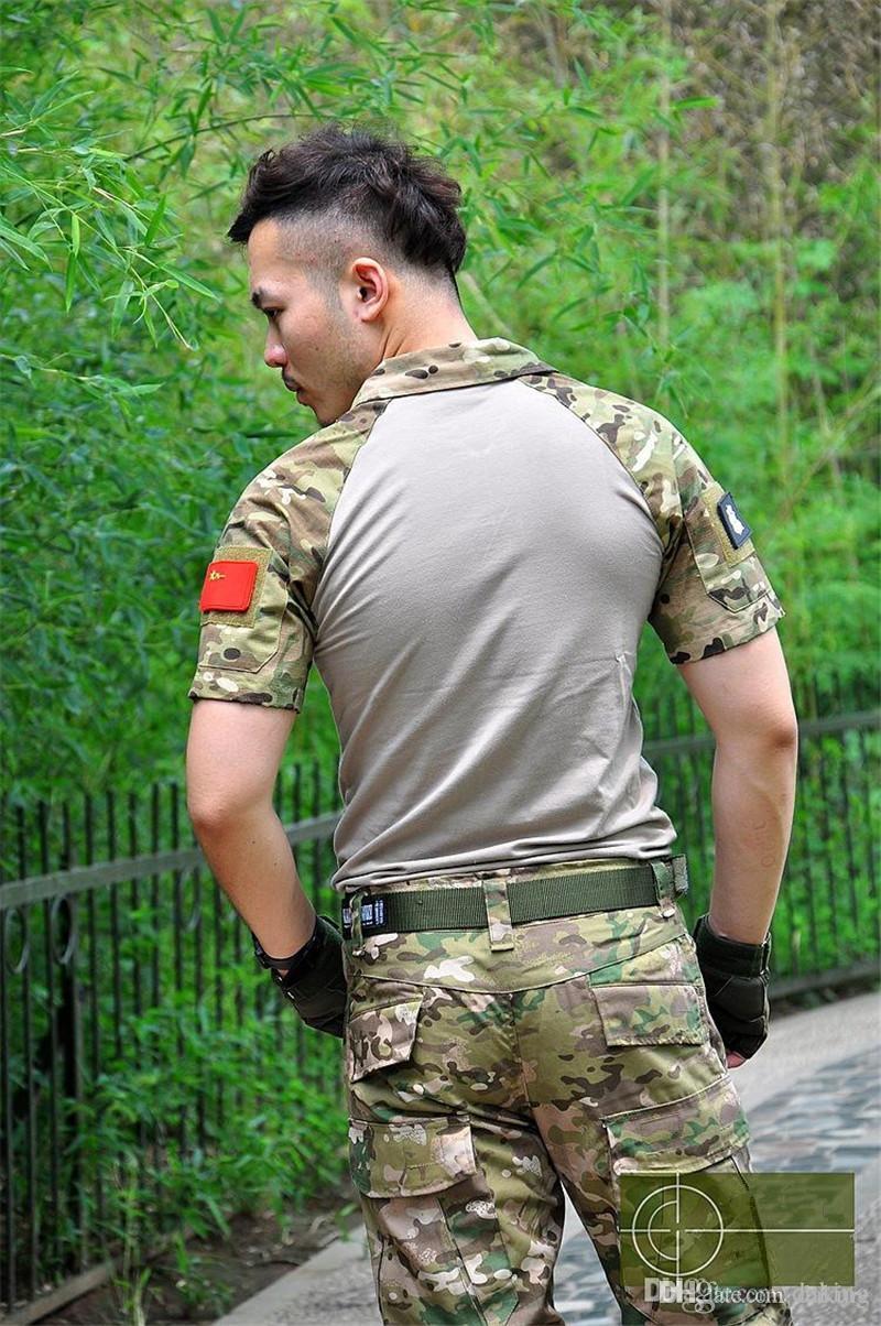 Spring Autumn Europe Russia Men Active Army Uniform TShirt Military Training Camping Hiking Green Gray Camo short sleeve Pocket Tees shirt
