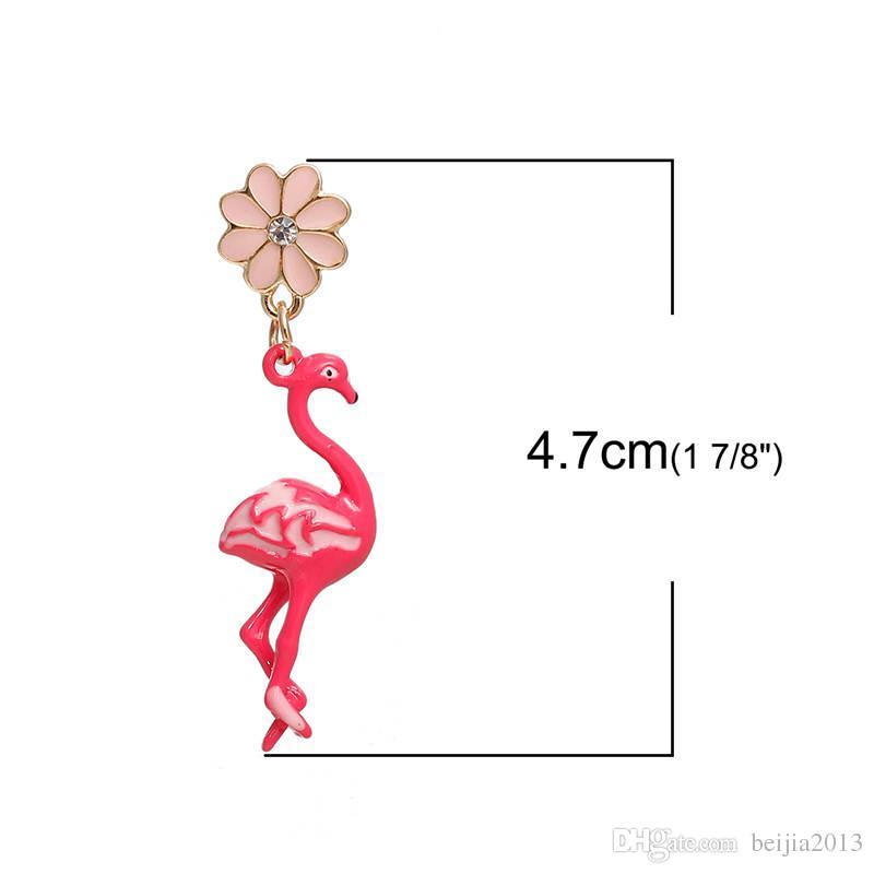 Бесплатная Доставка! Серьги золотой цвет розовый цветок фламинго ясно горный хрусталь эмаль 47*11 мм сообщение/ провод размер: 21 Калибр, 1 пара Рождество