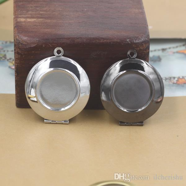22*6MM Fit 16MM Silver/antique bronze/rose gold/black gun round photo locket charms jewelry, vintage metal picture frame pendant wish box
