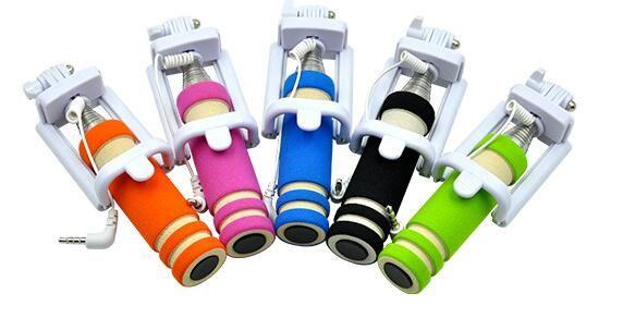 NEW Foldable Super Mini Wired Selfie Stick Handheld Extendable Monopod Non-slip Handle Compatible