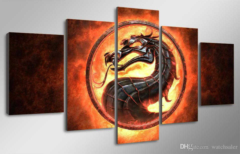 2018 hd printed fire dragon picture painting canvas print room 5pcs set hd printed fire dragon picture paintingg voltagebd Choice Image