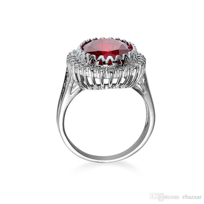 Presente de Jóias Rubi Diamonique CZ Banhado A Ouro Anel de Noivado Casamento Banda Sz6-10
