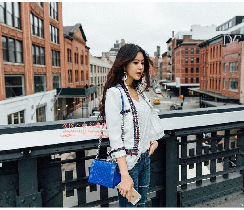Kadın sonbahar bahar OL tasarım moda iş uzun kollu örgü şerit patchwork tüvit yün kısa ceket renk blok casacos