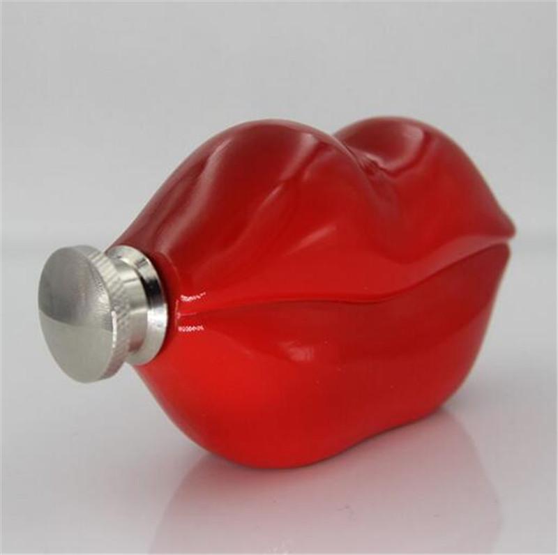 Garrafas de vinho do quadril bar 5 oz vermelho charme lip hip flask com funil Grade 304 Bar de aço inoxidável garrafa de bebida coleção ao ar livre