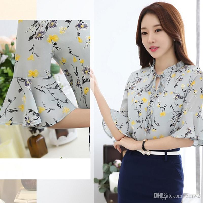 cd6a8d3c4753e Women Chiffon Blouse And Shirt Summer Casual Fashion Print Floral Tops  Female Half Flare Sleeve Ladies Girls Online with  19.63 Piece on Bmw2 s  Store ...