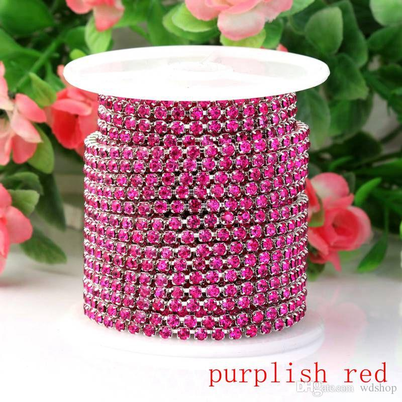 10YardsSS12 3MM Crystal Rhinestone Chain DIY Sew On Silver Base Density Trim Strass Crystal Cup Chains For Wedding Dress Wholesale