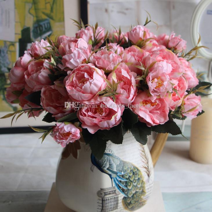 Soie Artificielle Mini Fleur De Pivoine 1 Bouquet 5 Tête Fausse Feuille Maison Partie Jardin De Mariage Décor Bleu / Ivoire / Rose / Hotpink