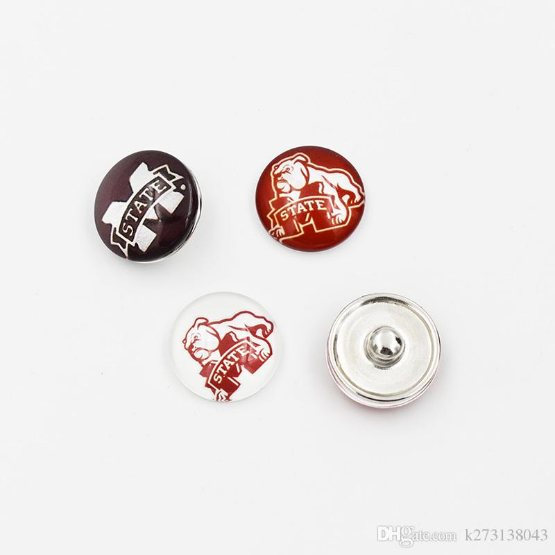 Mixed 3 Styles Mississippi State Ginger Snap Jewelry NCAA Snap Button 18mm Glass Collegiate Sport Team Snap Charms Fit For DIY Jewelry