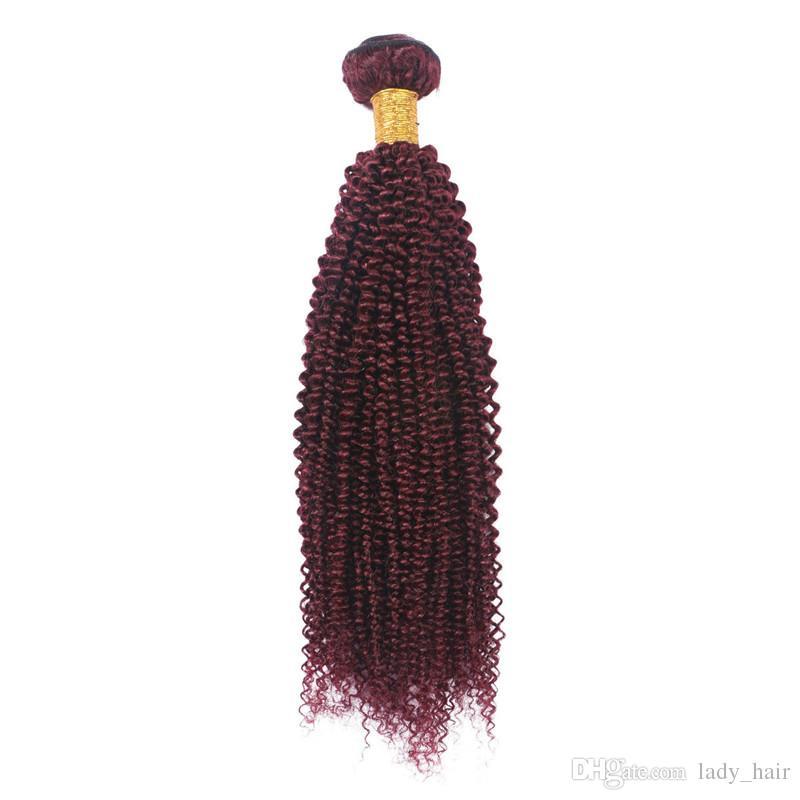 Atacado Kinky Curly Peruano Virgem # 99J Vinho Tinto Cabelo Humano 3 Bundles Melhor Qualidade Borgonha Extensões de Cabelo Humano Tramas Duplas DHL Livre