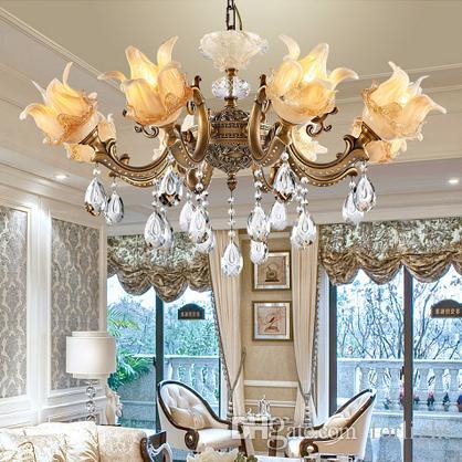 Großhandel Kupfer Kristall Kronleuchter High Class Luxus Edle Amerikanischen  Europäischen Stil Kronleuchter Lichter Wohnzimmer Schlafzimmer Esszimmer ...