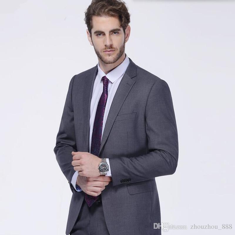 Gray men suits slim fit men's wedding suits tuxedos for men tailor made groom groomsman prom feast dress suitsjacket+pants