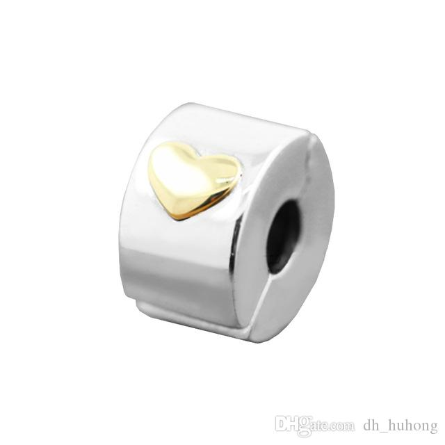 496fe0d9b90 2019 Classic Heart Clip Gold Heart Charm 2017 Spring 100% 925 Sterling  Silver Bead Fit Pandora Bracelet Fashion Jewelry DIY Charm Brand From  Dh_huhong, ...