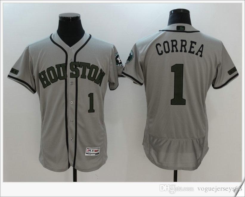 b91a6427162 ... Correa Memorial Day Cheap Embroidery Grey Baseball Shirts Stitched Mens Houston  Astros 1 Carlos Correa Gray Road 2016 Flexbase Majestic Baseball Jersey ...