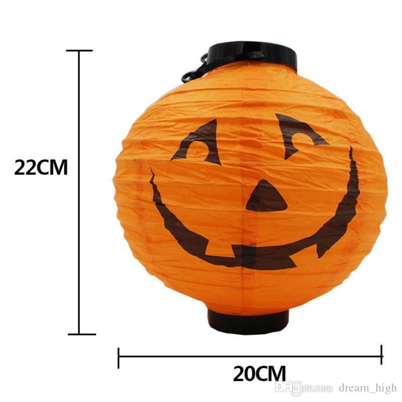 Decoración de Halloween Luz de calabaza de papel LED Lámpara colgante de linterna Accesorios de Halloween Suministros de fiesta al aire libre Precio de fábrica
