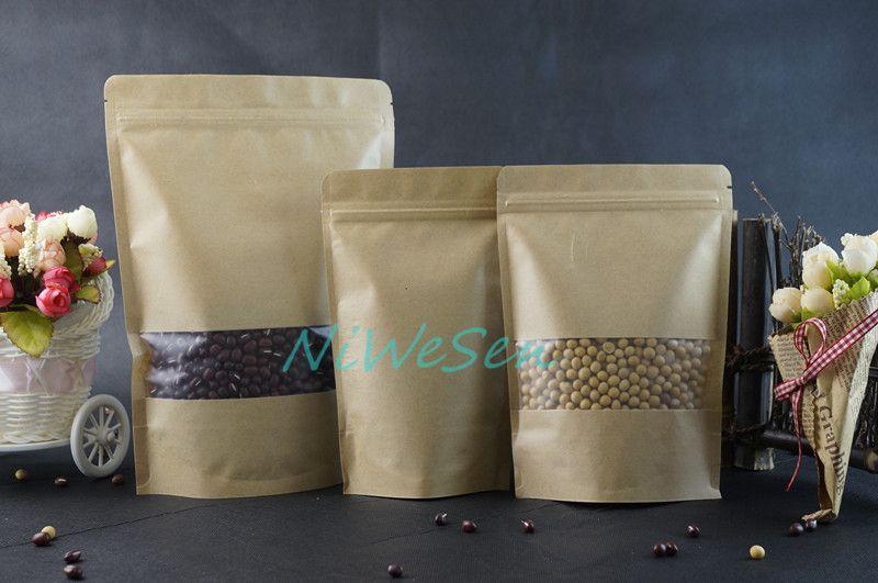9x14cm X Brown Standing Kraft paper ziplock bags with matte Clear window-reusable flower tea bag storage sachet
