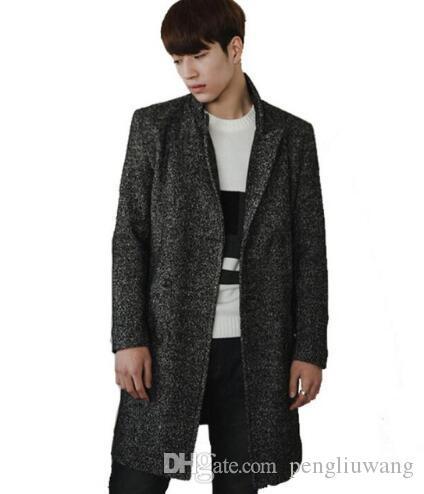 ce734f9c7de 2019 Grey Casual Loose Woolen Coat Men Overcoat Mens Cashmere Coat Casaco  Masculino Inverno Erkek Mont Sobretudo Wool   Blends From Pengliuwang
