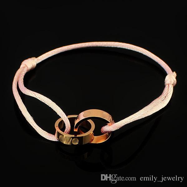Yüksek Kalite Gül Altın Manşet Halat Gümüş Charm Bilezikler Paslanmaz Çelik Takı Marka Aşk Kadınlar Için Bilezik Bilezikler Erkekler Pulseiras