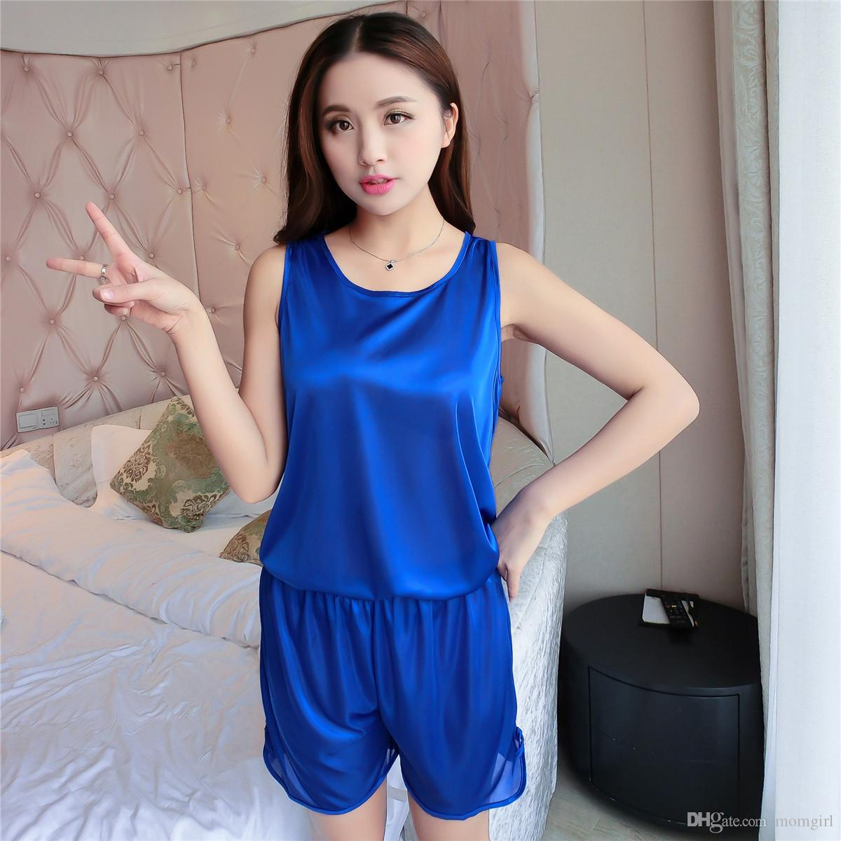 cool set transparent choose product for thin summer women girls comfortable sexy store pajamas online silk with solid sleepwear comforter color ice ladies