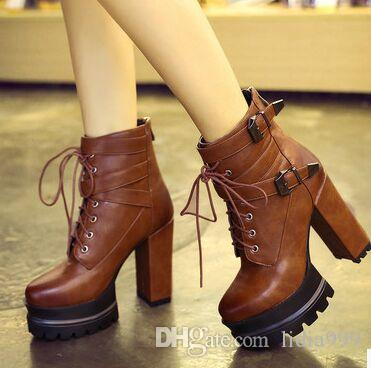 Wholesale New Arrival Hot Sale Specials Influx Warm Noble Snow Martin Lace Up Cross Platform Coolgirl Party Heels Ankle Boots EU34-43