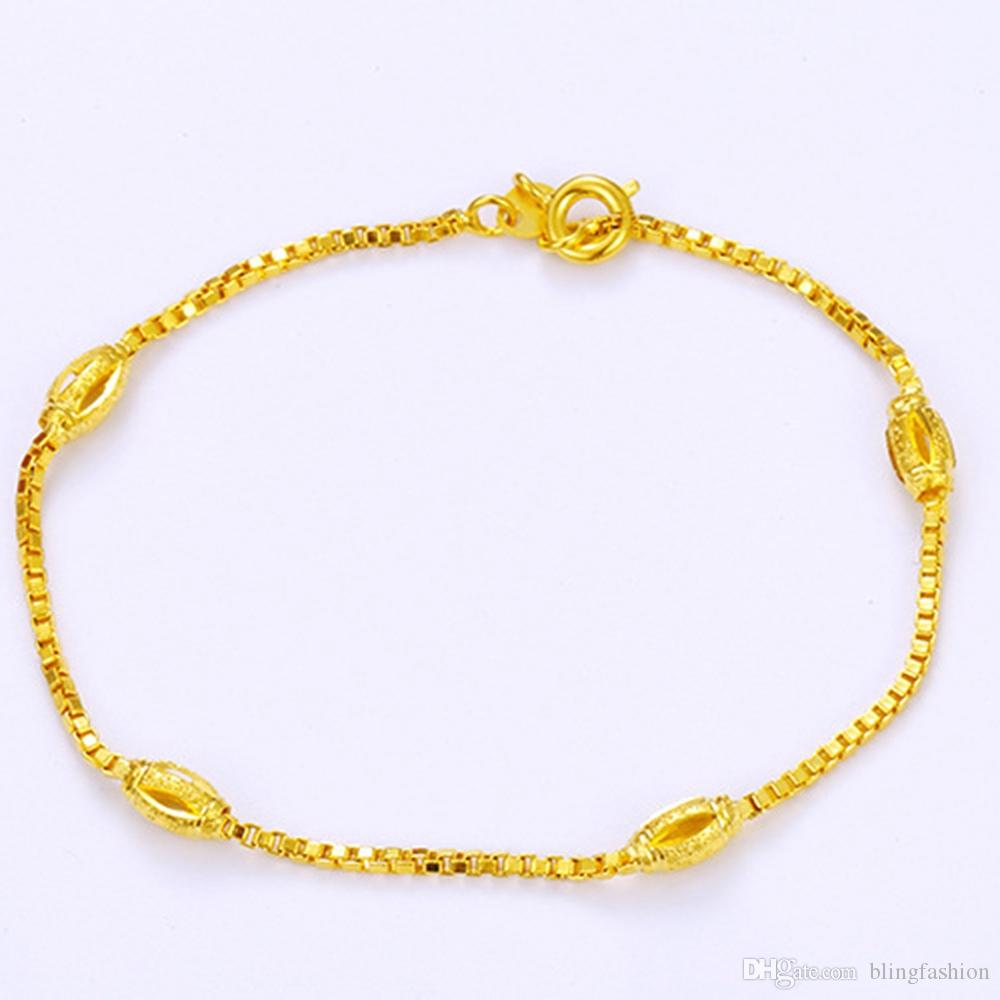 long classic girls gold accessories solid wrist small bracelet chain box womens product store filled for yellow