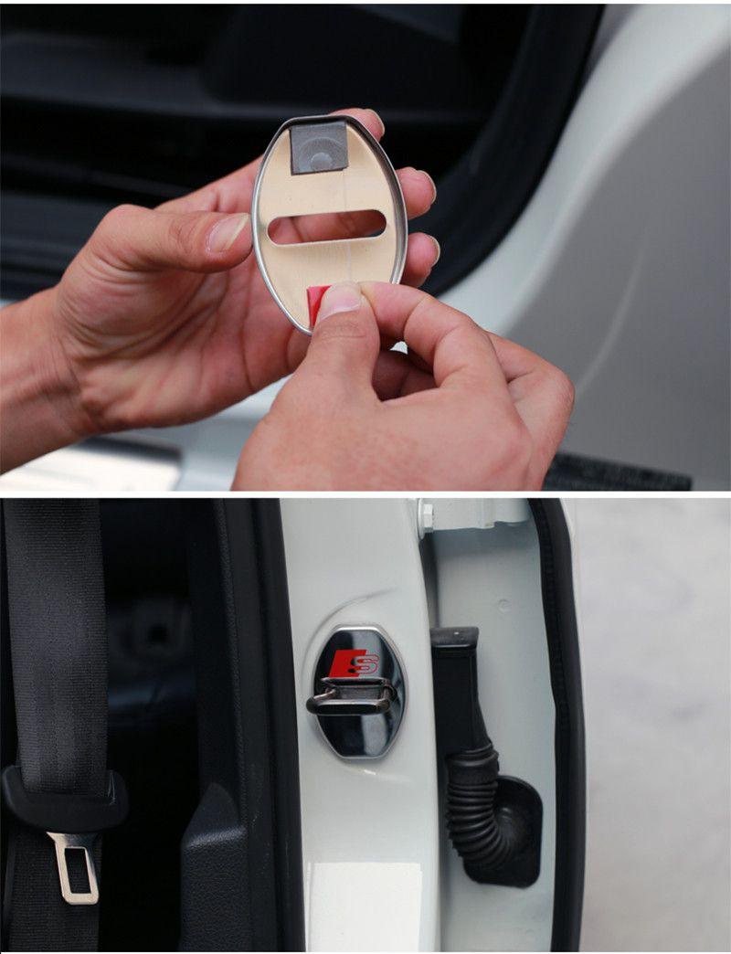 Nova chegada de aço inoxidável fechadura da porta tampa da fechadura da decoração tampa da etiqueta adesivo para audi a3 a3 a5 a7 a5 a8 a3 q3 q5 car styling