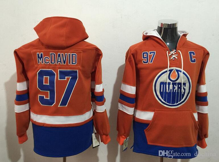 New Oilers Hoodies Jerseys  97 Mcdavid  99 Gretzky Hockey Hoody Blue ... 01d69feb8